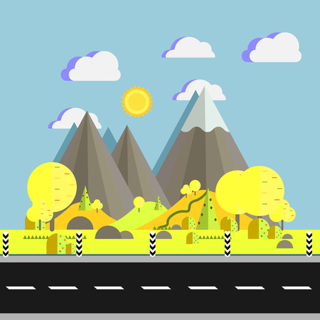 Landscape of mountains with trees on hills near road in flat vector illustration. Natural place for camping and hiking, extreme sports, outdoor adventure