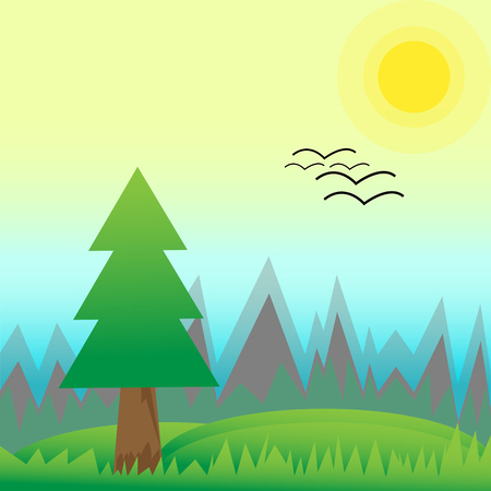Spring landscape of pine forest and green meadow with hills on sunny morning. Birds arrive to home. Scenery nature flat vector illustration style. Illustration