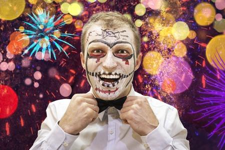 Halloween man ready for festive party. Portrait of halloween man with skelet. Happy halloween