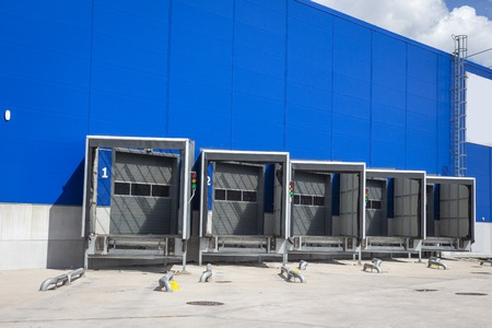 Loading dock at a warehouse. modern logistics center. docking stations of a distribution center
