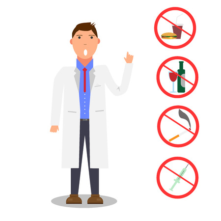 Doctor warns about bad habits. Doctor forbids bad habits. Stop bad habits. Doctor point to stop signs drinking alcohol, smoking, overeating, drugs. Healthy lifestyle. Medicine concept. Keep health Иллюстрация