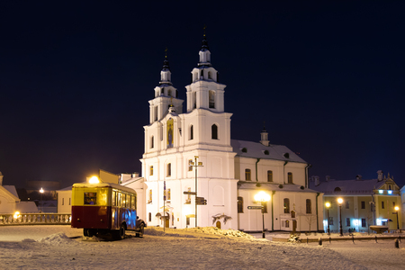 Minsk night cityscape, Belarus. Main orthodox cathedral in evening Minsk. Imagens