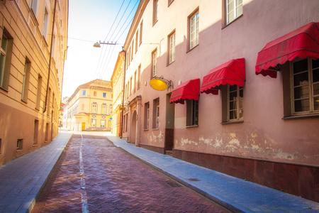 European street in old town in Vilnius on summer day, Lithuania Reklamní fotografie