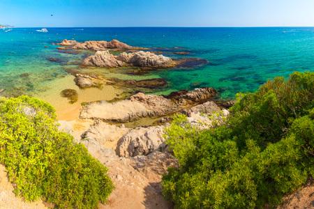 Lloret de mar Santa Cristina beach in sea coast in Spain. Clear day in Costa Brava resort beach