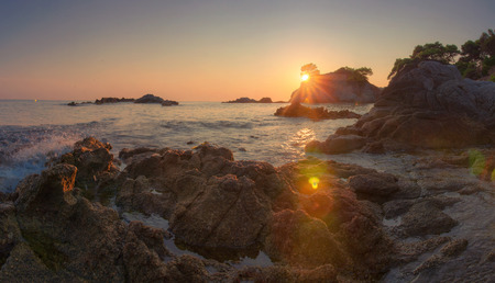 Amazing morning landscape of rocky coast in Costa Brava at sunrise, Spain
