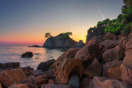 Costa Brava nature landscape in the morning. Sea coast in Lloret de Mar Stok Fotoğraf