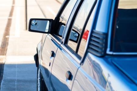 Retro blue car close-up. Vintage classic car Stok Fotoğraf