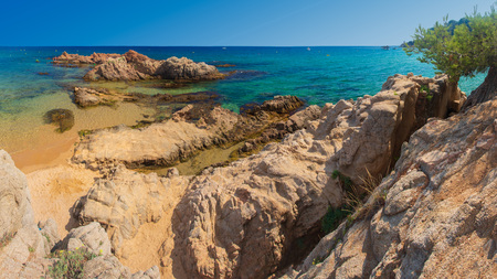 Beautiful sea resort beach Santa Cristina in Lloret de Mar, Spain. Summer vacation in Costa Brava