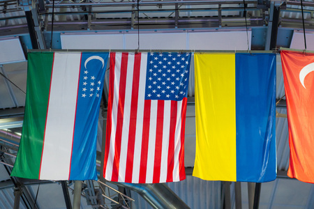 International flags on the  arena Imagens