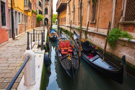Gondolas in Venice canal. Venice cityscape, Italy