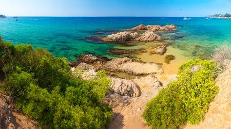 Cala Treumal beach in Lloret de Mar, Spain. Beautiful summer beach in Costa Brava resort. Sea nature landscape