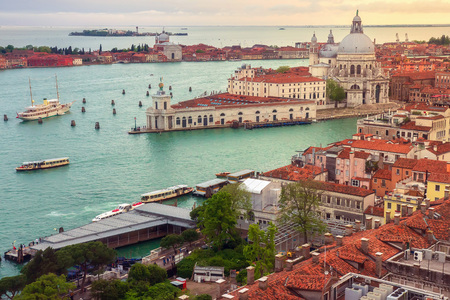 Venice cityscape from above. Top view of old town Venice at sunset, Italy