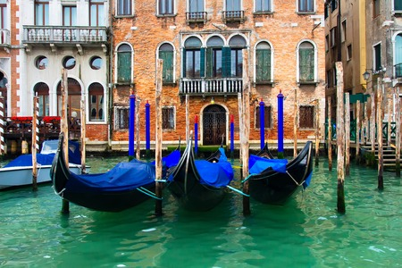 Venice, Italy. Gondolas in Grand Canal near old house. Venetian down Town Imagens
