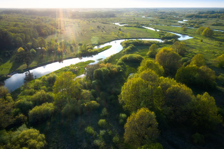 Top view river nature. Aerial view of Green summer meadow with river. Landscape riverside Imagens
