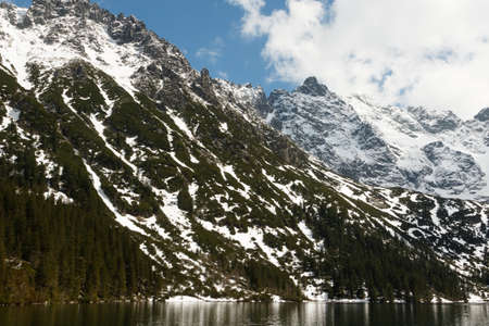 view of the lake Morskie Oko, mountains in the national park in the Tatra Mountains