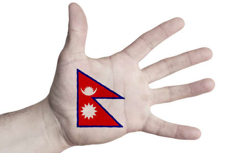 Open palm with the image of the flag of Nepal. Multipurpose concept. Image on a white background. Isolate