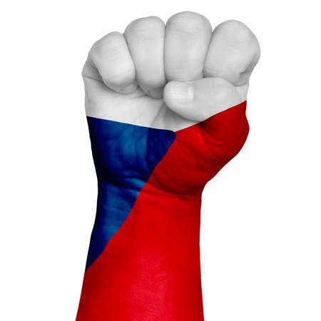 Low key picture of a fist painted in colors of czech flag. Image on a white background. Isolate Stock Photo
