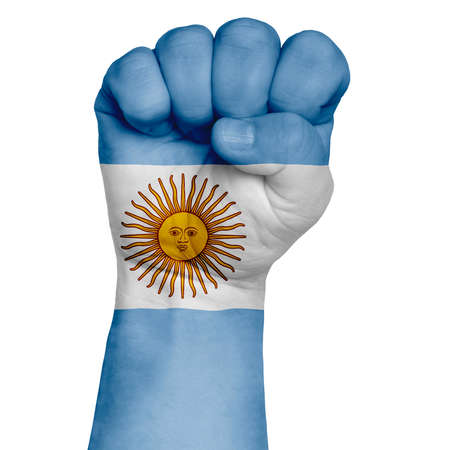 A restrained image of a fist painted in the colors of the flag of Argentina. Image on a white background. Isolate