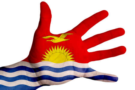 Open hand with the image of the flag of Kiribati. Multipurpose concept. Image on a white background. Isolate 版權商用圖片