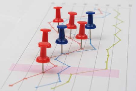 Close up of pin on graph data. Finance concept. Banco de Imagens