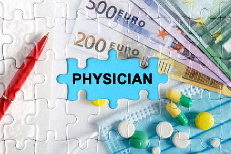Double exposure. Puzzles with the image of pills, medical mask, pens and euro with the inscription -PHYSICIAN. The concept of medicine.