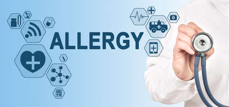 Allergy diagnosis medical and healthcare concept. Doctor with stethoscope. 免版税图像 - 150268643