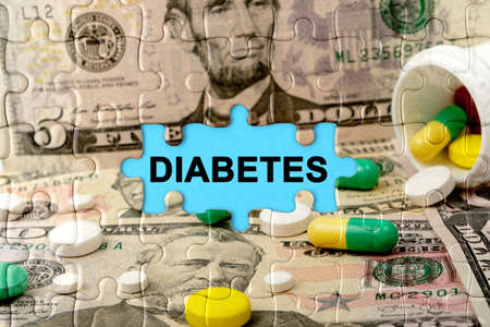 Double exposure. Puzzles depicting pills and dollars with the inscription -DIABETES. The concept of medicine.