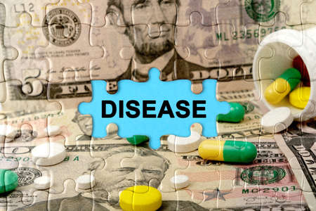 Double exposure. Puzzles depicting pills and dollars with the inscription -DISEASE. The concept of medicine.