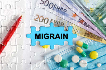 Double exposure. Puzzles with the image of pills, medical mask, pens and euro with the inscription -MIGRAIN. The concept of medicine.