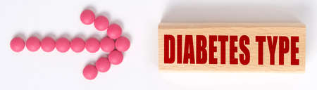 Medicine concept. An arrow of pills points to a sign that says DIABETES TYPE