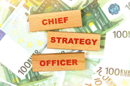 Business concept. Against the background of euro bills, the text is written on wooden blocks - chief strategy officer