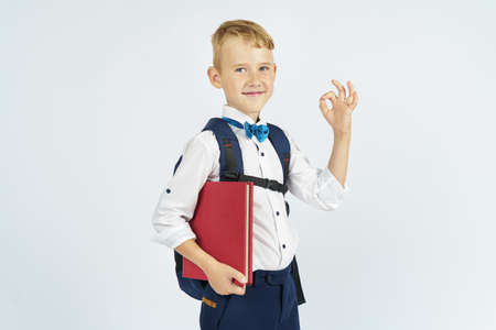 A schoolboy with a briefcase holds books in his hands and shows the gesture ok. Isolated background. Education concept