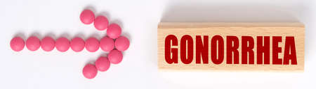 Medicine concept. An arrow of pills points to a sign that says GONORRHEA