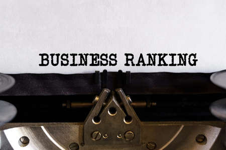 Finance and business concept. Vintage typewriter with typed text - BUSINESS RANKING