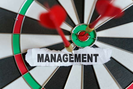 Business and finance concept. A piece of paper with the text is nailed to the target with a dart - MANAGEMENT