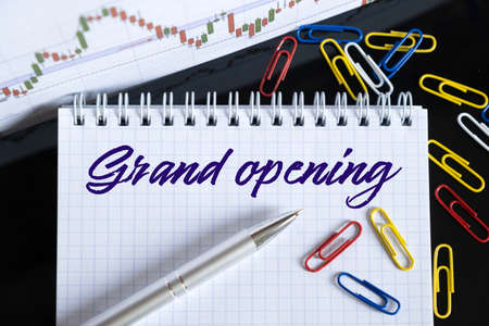 Finance and economics concept. On the desktop are a forex chart, paper clips, a pen and a notebook in which it is written - Grand opening Zdjęcie Seryjne