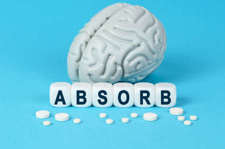Medicine and health. Cubes lie on the table among the pills and imitation of the brain. The text on the dice - ABSORB