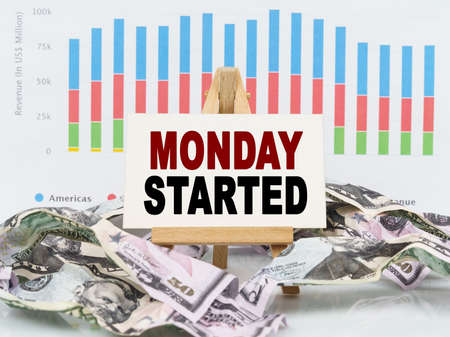 Business and finance concept. Among financial charts and money is a sign with the text - MONDAY STARTED