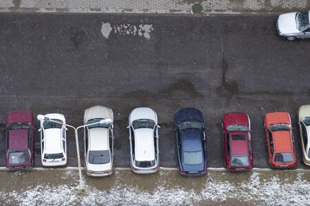 Parking in the courtyard view from above. Courtyard parking in winter