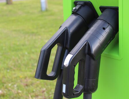 Charging stations for electric cars close-up. Electric car concept.