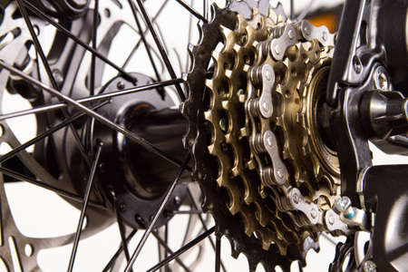 Bicycle disc brakes close-up, spokes. Bicycle brake adjustment Banque d'images