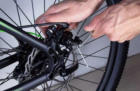 Self-adjusting bike transmission. Workshop repair concept. close-up