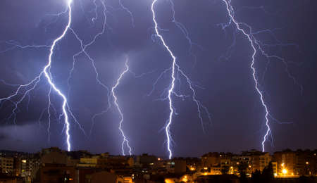 Thunderstorm in the mediterranean city night