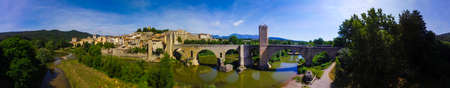 Big panoramic view of Besalu fortified village at Girona