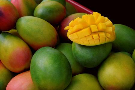 Ripe mango in Birmingham City market. Fresh mango in market. Stock Photo