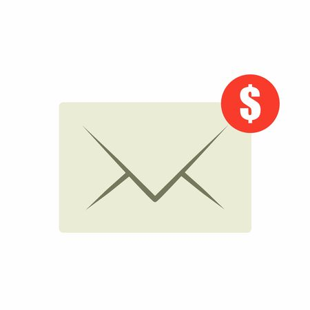 sent: Email money transfer icon. Envelope with notification, vector design isolated on white background