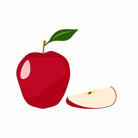alimentary: Red apple vector design isolated on white background Illustration