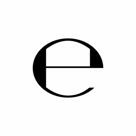 Estimated sign, E mark, E symbol isolated on white background
