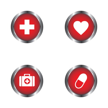 cardiograph: Heart, pills, First Aid kit and First Aid sign icon vector design isolated on white background