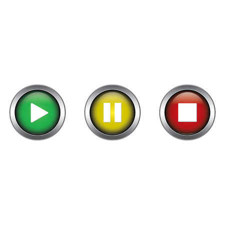 Play, Pause and Stop buttons collection vector design isolated on white background Illusztráció